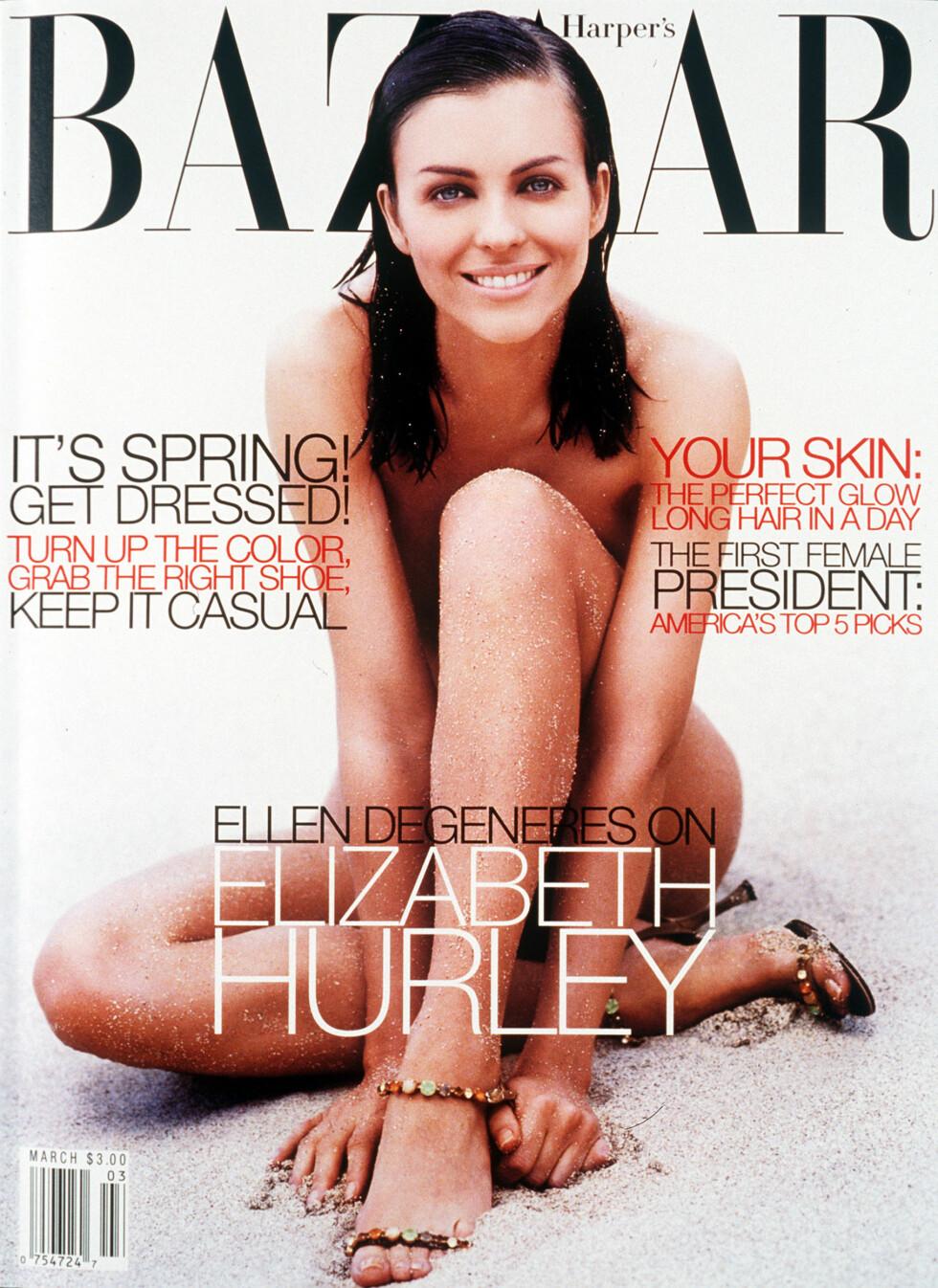 1999: Elizabeth Hurley på coveret av Harper's Bazaar.  Foto: AP
