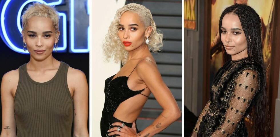 ZOE KRAVITZ: Skuespilleren har prøvd flere hårsveiser, og hun ser så bra ut i alle! Foto: Scanpix
