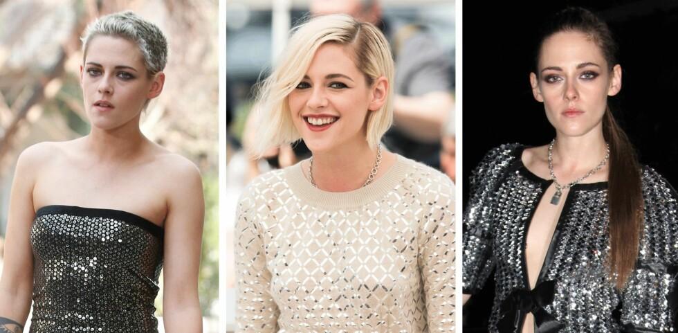 MYE HAR SKJEDD: Kristen Stewart gikk fra langt, mørkt hår til kort og blondt. Foto: Scanpix
