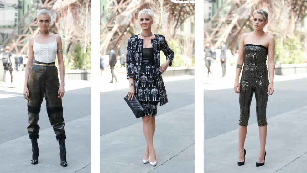 NY HÅRTREND? Cara Delevingne, Katy Perry og Kristen Stewart møtte alle opp på haute couture-visningen til Chanel i Paris med samme hårsveis. Foto: Scanpix