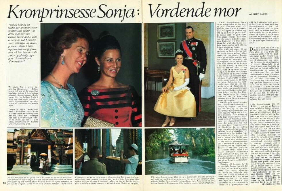 HYLLEST: Tittelen på artikkelen som sto på trykk i KK sommeren 1970 var «Kronprinsesse Sonja: Vordende mor». Dessverre opplevde kronprinsessen å miste sitt ufødte barn 2. juli 1970.  Foto: Faksimile KK