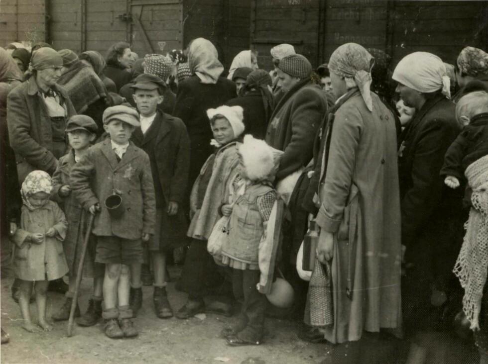 HISTORISK FOTO: På dette bildet, som viser en gruppe jødiske kvinner og barn som akkurat har ankommet Auschwitz-Birkenau fra Ungarn i mai 1944, kjente Lili Jacobs igjen flere av de som var avbildet. De fire barna på venstre side er Lilly Jacobs søskenbarn, og damen til venstre er hennes tante. (Kilde: Haaretz.com) Foto: NTB Scanpix