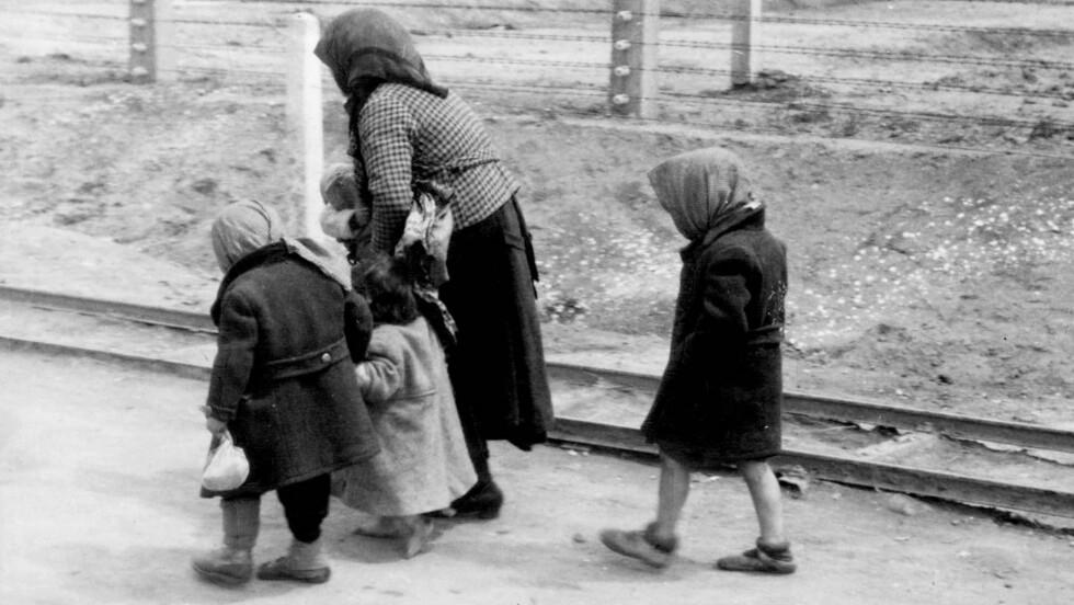 AUSCHWITZ: En kvinne med tre barn på vei fra utvelgelsesområdet til krematoriene. Dette bildet ble funnet i «The Auschwitz Album». FOTO: NTB scanpix