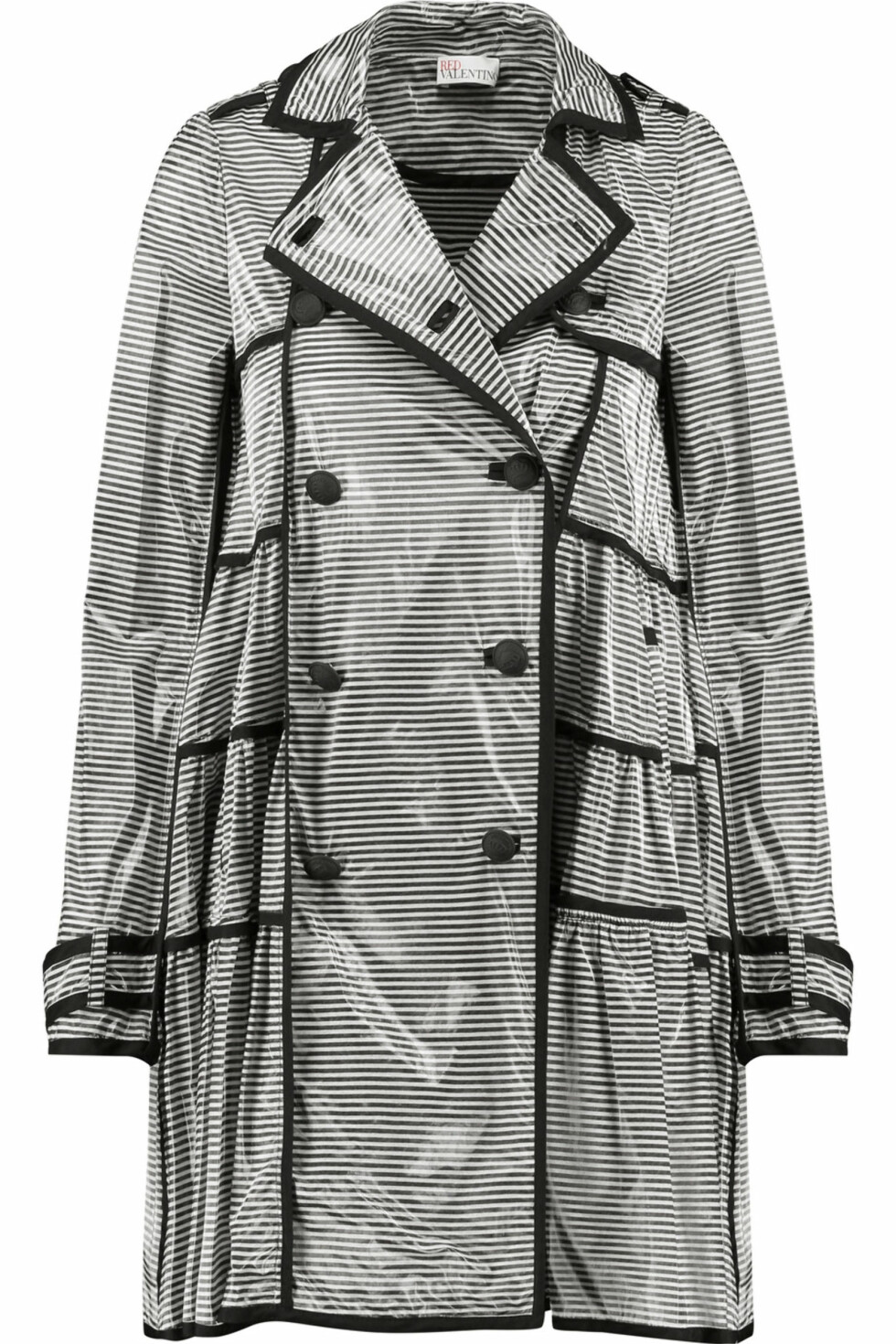 Regnjakke fra RedValentino via The Outnet | kr 2260 | https://www.theoutnet.com/en-GB/Shop/Product/REDValentino/REDValentino-coated-striped-modal-blend-trench-coat/909349?cm_mmc=LinkshareUS-_-TnL5HPStwNw-_-Custom-_-LinkBuilder&siteID=TnL5HPStwNw-Bv8LcD2k9mcu3TIEgHYiXw&Skimlinks.com=Skimlinks.com