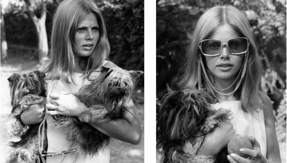 GLAD I HUNDER: Til tross for at gaven fra hennes første ektemann, Peter Sellers, var en hund hun ikke var klar for å ta vare på, har hun i dag hunden Tequila, og det er tydelig at de har et tett bånd. Bildene over er fra 60-tallet. Foto: Scanpix