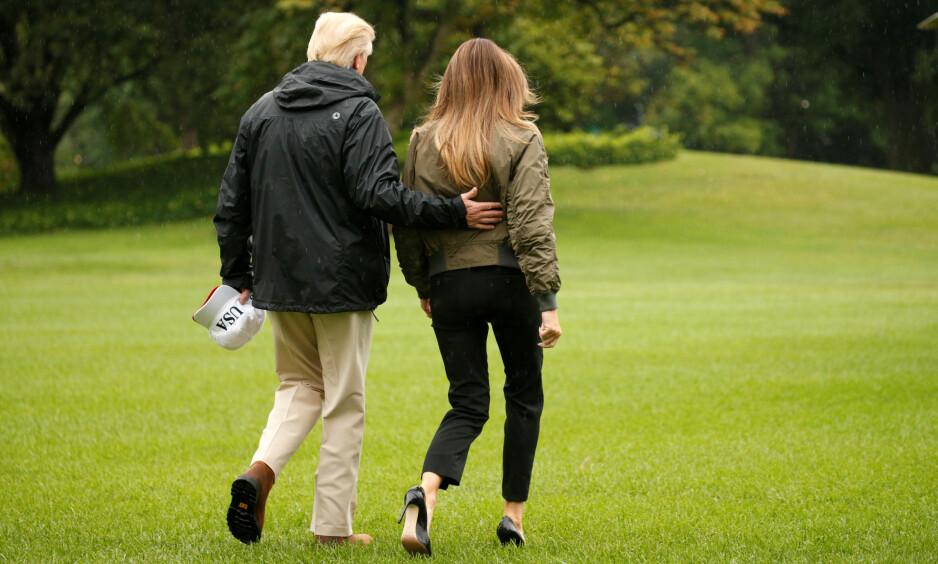 DONALD OG MELANIA TRUMP: Presidenten og førstedamen forlater Washington DC og setter kurs mot Texas.