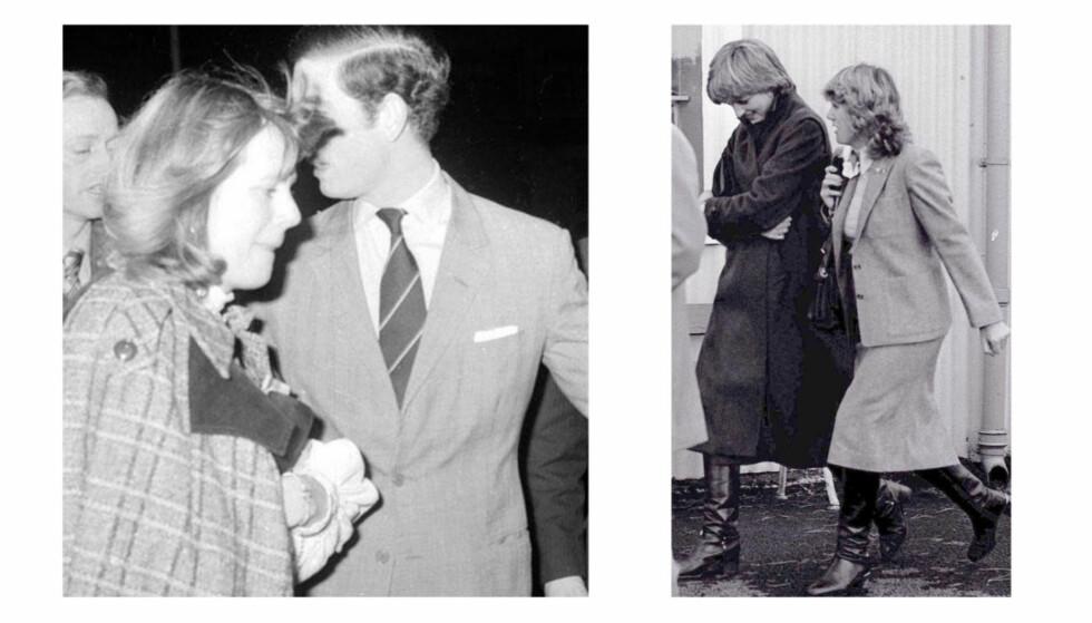 Den britiske prinsen møtte Camilla allerede på begynnelsen av 70-tallet, men ble tvunget til å gifte seg med den nesten 13 år yngre sosietetskvinnen Diana Spencer. Bildet til venstre er tatt i 1975, bildet til høyre av Diana og Camilla er tatt i 1980. Foto: Scanpix