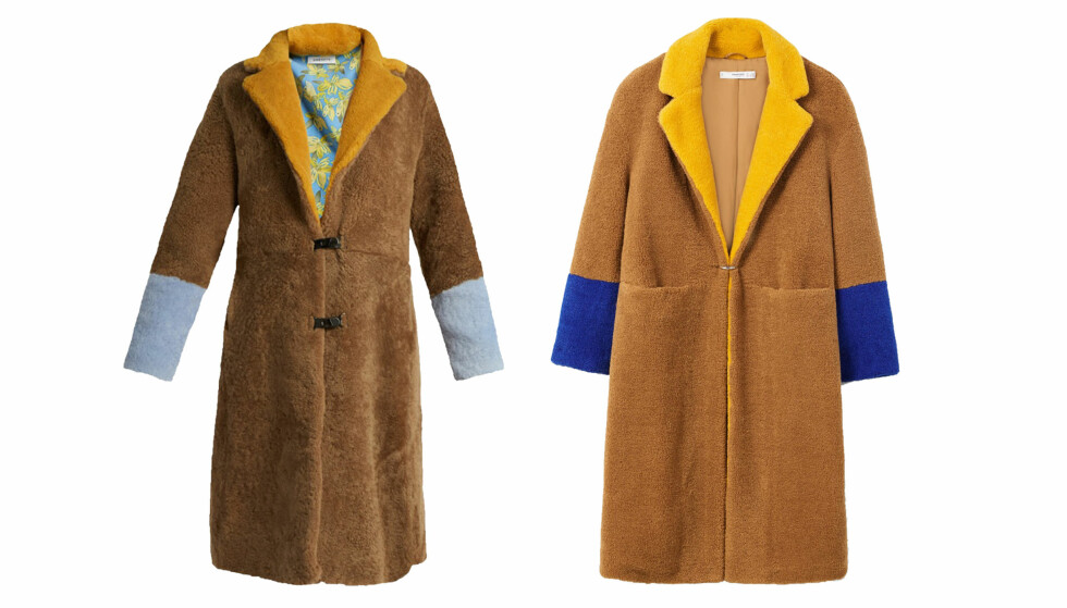 <strong>BILLIG VS DYR:</strong> Kåpen til venstre er fra Saks Potts og koster cirka kroner 10 000. Kåpen til høyre er fra Mango og koster kroner 899.