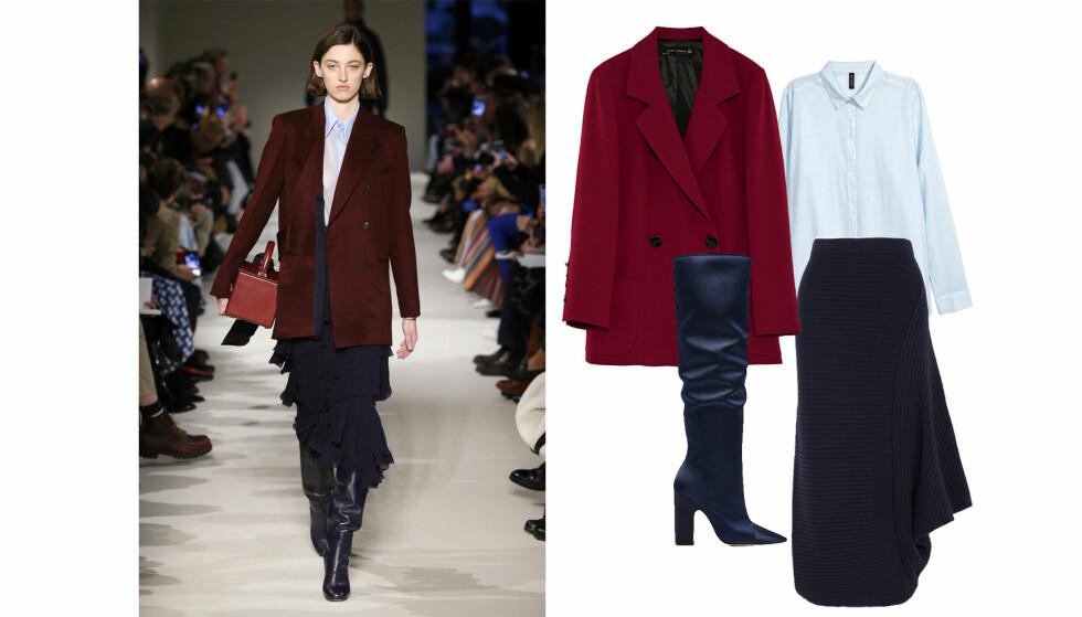 ANTREKK 2: Blazer fra Zara, kr 699. Støvletter fra Zara, kr 999. Skjorte fra H&M, kr 99. Skjørt fra J.W. Anderson via Net-a-porter.com, kr 6500.