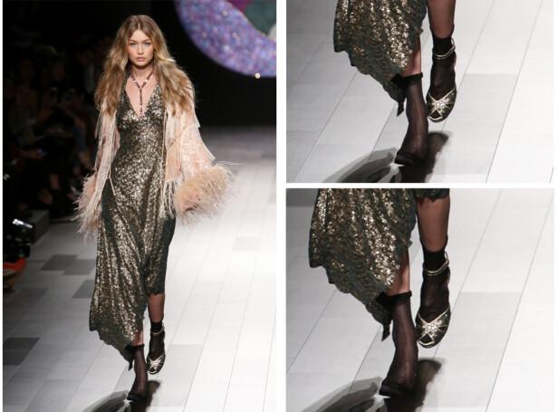 MANGLET EN SKO: Gigi Hadids antrekk var ikke helt komplett da hun gikk ut på catwalken til Anna Sui.