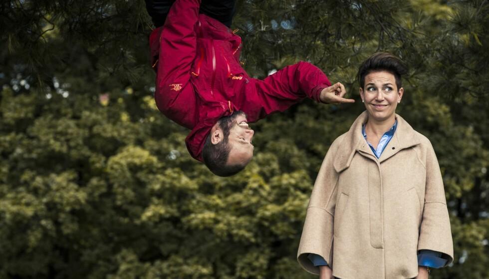 HØYT OG LAVT: Kim har alltid likt å være ute i naturen. Og å tøyse og tulle. FOTO: Astrid Waller
