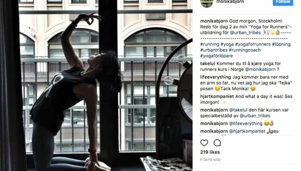 YOGA: Yoga tilbyr en mer bevegelig kropp, en penere og bedre holdning og et roligere sinn, forklarer Monika Björn. Skjermdump Instagram (Instagram.com/monikabjorn)
