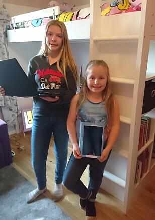 KJØPTE NETTBRETT OG PC: Heidi (12) og Anette (9) solgte unna alt de ikke lengre brukte og fikk penger til å kjøpe det de ønsket seg. Foto: Privat