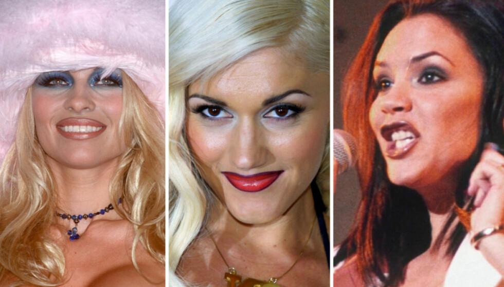 90-TALLS: Den svært synlige liplineren var en stor hit på 90-tallet. Fra venstre: Pamela Anderson, Gwen Stefani og Victoria Beckham. Foto: All Over Press
