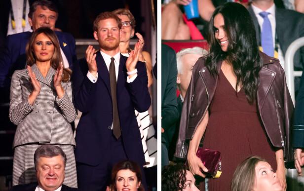SØNDAG KVELD: Meghan Markle fikk ikke lov til å sitte side om side med kjæresten og den amerikanske førstedamen Melania Trump under åpningsseremonien søndag kveld. Foto: NTB Scanpix