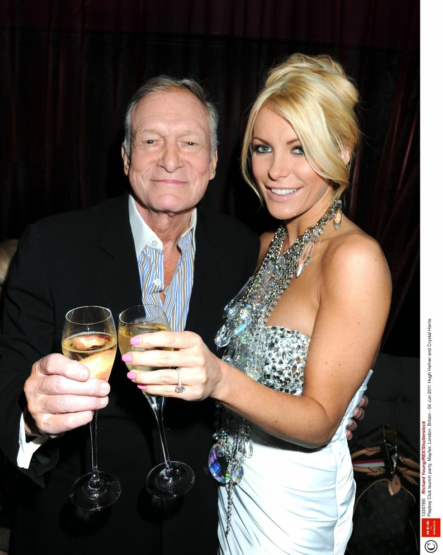 TREDJE OG SISTE KONE: Hugh Hefner giftet seg med modellen Crystal Harris i 2013. I