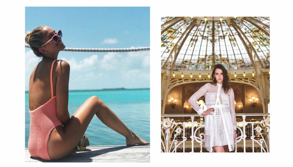 KONGELIGE PÅ SOSIALE MEDIER: Maria-Olympia av Hellas (t.v.) og prinsesse Stepanies datter Pauline Ducret deler begge to stort og smått fra sine royale liv på sosiale medier. FOTO: Skjermdump fra Instagram