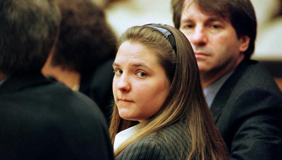 LOUISE WOODWARD: Den britiske au pairen Louise Woodward var 19 år da den amerikanske gutten Matthew Eappen døde. Dette bildet er fra rettshøringen i Massachusetts høsten 1997. FOTO: NTB Scanpix
