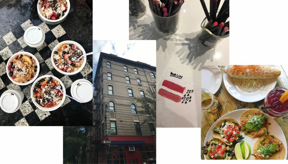 MANGE OPPLEVELSER: Frokost fra Oatmeals i Washington Square Park, bygningen du ser på introen til Friends, lag din egen leppestift hos Lip Lap og spis deilig meksikansk mat hos La Esquina. Foto: Malin Gaden og skjermdump fra La Esquinas Instagram