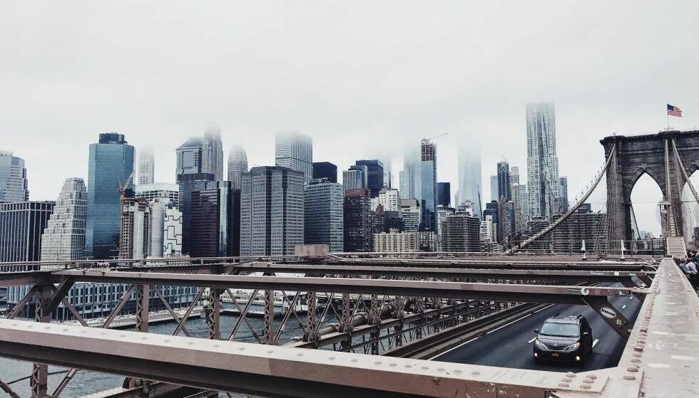 MANHATTAN: Fra Brooklyn Brigde kan du knipse noen ganske så kule bilder av Manhattan. Foto: Malin Gaden