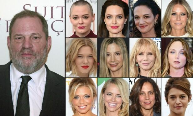 STÅR FREM: Flere kvinner i Hollywood har den siste tiden stått frem med sine personlige historier tilknyttet film-mogulen Harvey Weinstein som omhandler seksuell trakassering og grove overgrep. Foto: NTB Scanpix