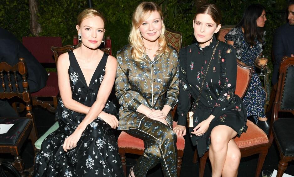 ERDEM x H&M: Kate Bosworth, Kirsten Dunst og Kate Mara sitter klare på første rad for å se kolleksjonen. Foto: Scanpix
