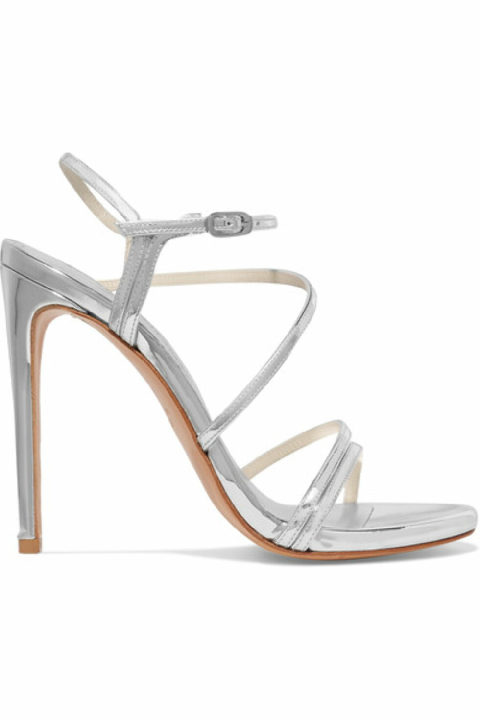 Sandaler fra Stuart Weitzman via Net-a-porter.com |4346,-| https://www.net-a-porter.com/no/en/product/895425/stuart_weitzman/follie-metallic-patent-leather-sandals