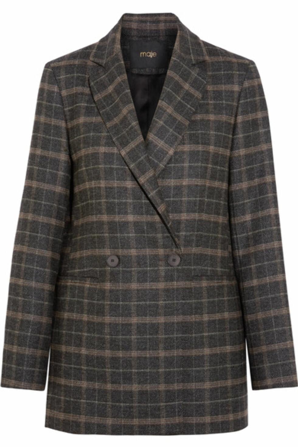 Jakke fra Maje via Net-a-porter.com  4188,-  https://www.net-a-porter.com/no/en/product/945785/maje/checked-stretch-felt-blazer