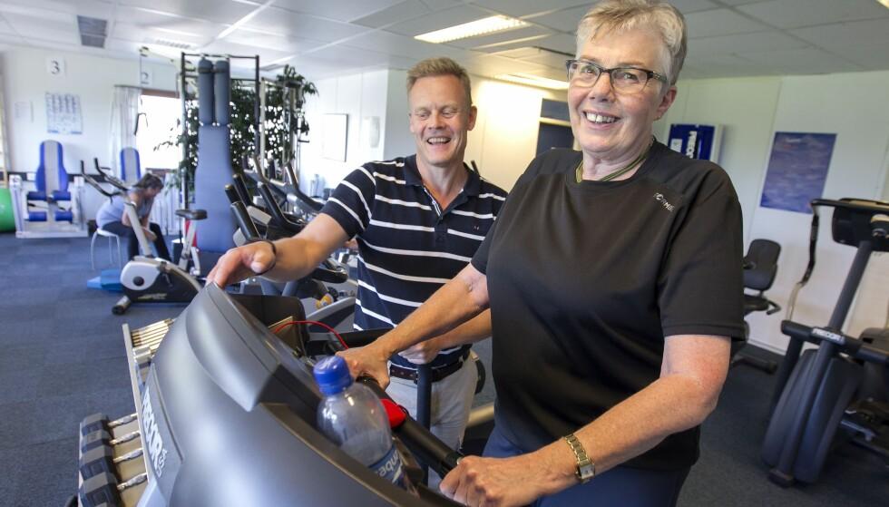 MÅ TRENE: I åtte år har Marit trent på Borgeåsen fysikalske institutt i Skien. Trening, ja det må hun! FOTO: Alf Øystein Støtvig