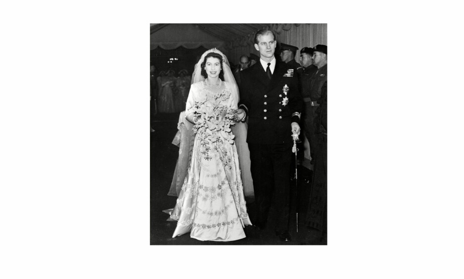 KONGELIG BRYLLUP: Den 20. november 1947 giftet prinsesse Elizabeth II seg med firmenningen Philip Mountbatten i Westminster Abbey i London. 70 år senere lever kjærligheten i beste velgående - til tross for opp- og nedturer underveis. Foto: NTB Scanpix