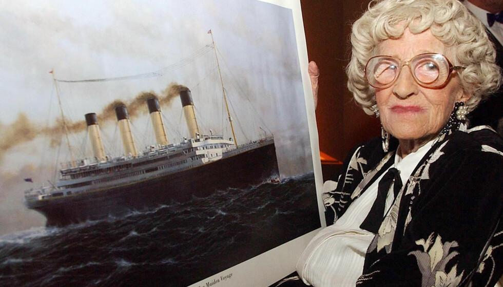 OVERLEVDE: Millvina Dean var den yngste passasjeren om bord på RMS Titanic i 1912. Hun ble også den av passasjerene som levde lengst - i en alder av 97 år gikk hun bort i 2009. Foto: NTB Scanpix