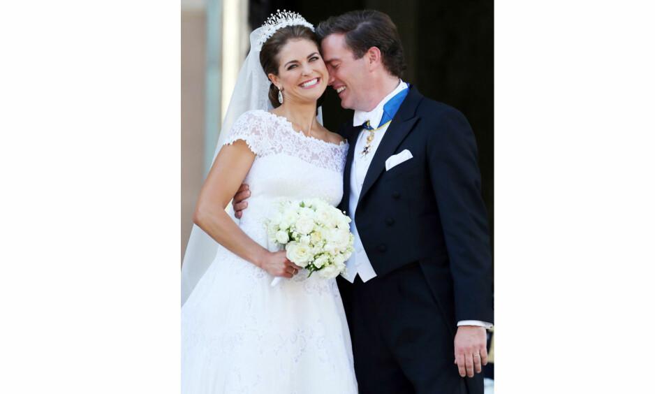 PRINSESSE MADELEINE OG CHRIS O'NEILL: Den svenske prinsessen giftet seg med den amerikanske forretningsmannen Chris O'Neill i 2013. I disse dager venter de barn nummer tre. Foto: NTB Scanpix