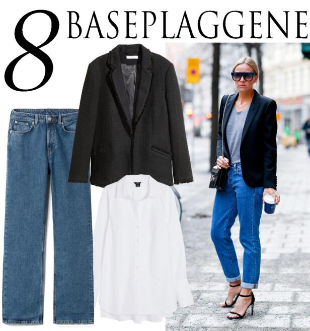 BASEPLAGGENE: Blazer fra H&M, kr 499. Jeans fra Weekday, kr 500. Skjorte fra Lindex, kr 299. Foto: Produsentene og Scanpix