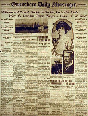 NYHETEN GIKK VERDEN RUNDT: Lite visste passasjerene om bord på RMS Titanic at de snart skulle være en del av nyhetspressen. Dette er forsiden på den amerikanske avisen The Owensboro Daily Messenger datert 17. april 1912. Foto: NTB Scanpix