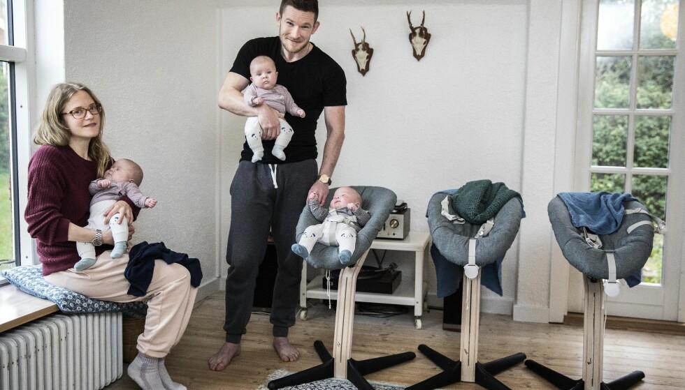 TRILLINGER: Petra og Mads hadde nesten gitt opp håpet om å bli foreldre. Så fikk de høre tre bankende hjerter på ultralyden. FOTO: Niels Hougaard