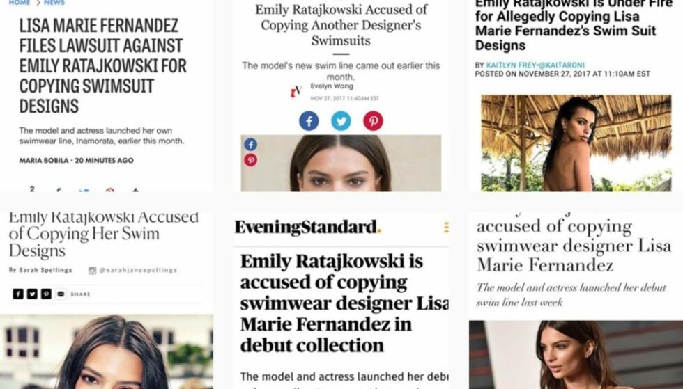 PÅ INSTAGRAM: Badetøysdesigner Lisa Marie Fernandez deler medienes omtaler rundt saken og kaller Ratajkowski for en bedrager. Foto: Skjermdump fra Instagram