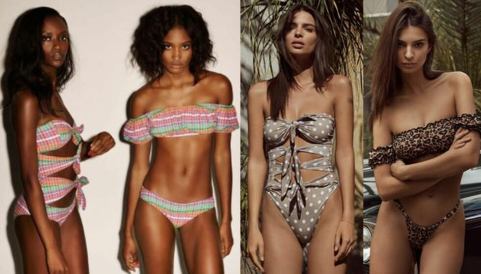 BESKYLDES FOR KOPIERING: TIl venstre ser du Lisa Marie Fernandez' design, til høyre Ratajkowskis. Foto: Produsentene