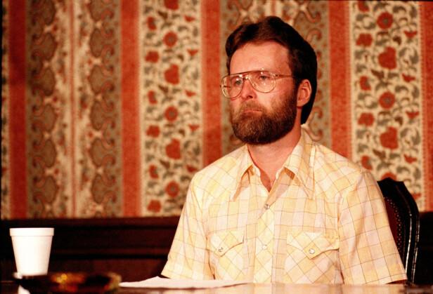 <strong>HEVDER SIN USKYLD:</strong> Den amerikanske research-assistenten Wayne McGuire ble dømt til døden ved henging av domstolen i Rwanda for drapet på Dian Fossey. Han har hele tiden hevdet sin uskyld. Dette bildet ble tatt i august 1986, da han på en pressekonferanse i Los Angeles kom med en kort uttalelse hvor han avviste drapsanklagene. FOTO: NTB Scanpix