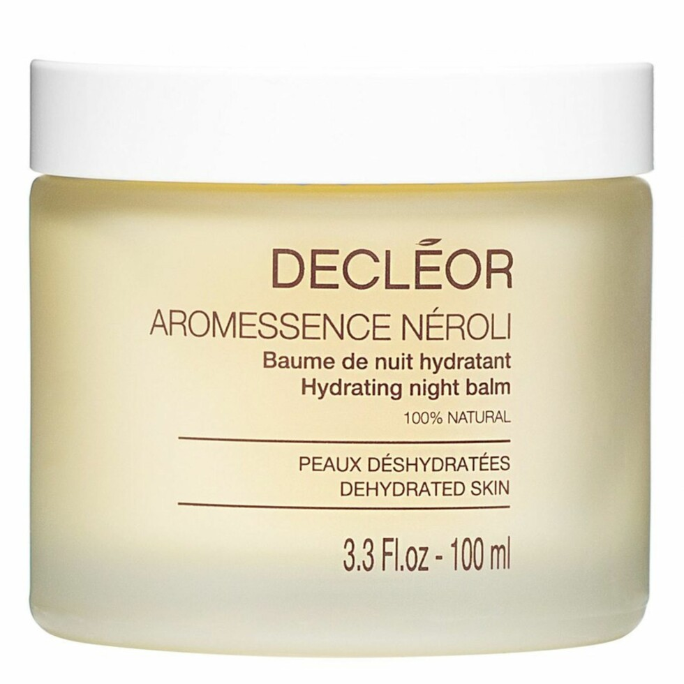 Night balm fra Decleor via Blivakker.no |486,-| https://www.blivakker.no/product/hudpleie/ansikt/nattkrem/3030416/decleor-aroma-night-neroli-essential-night-balm-100ml