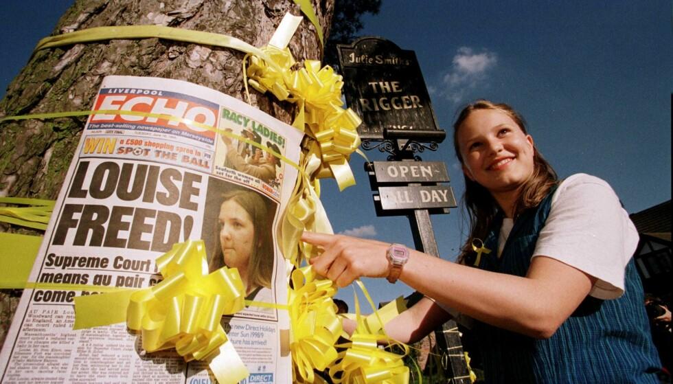 STØTTE: Louise Woodward hadde massiv støtte i lokalsamfunnet i Cheshire i England hvor hun vokste opp. Foto: NTB Scanpix
