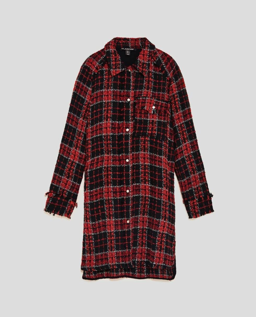 Rutete jakke fra Zara  499,-  https://www.zara.com/no/no/rutet-skjortejakke-p04661205.html?v1=5230546&v2=883034
