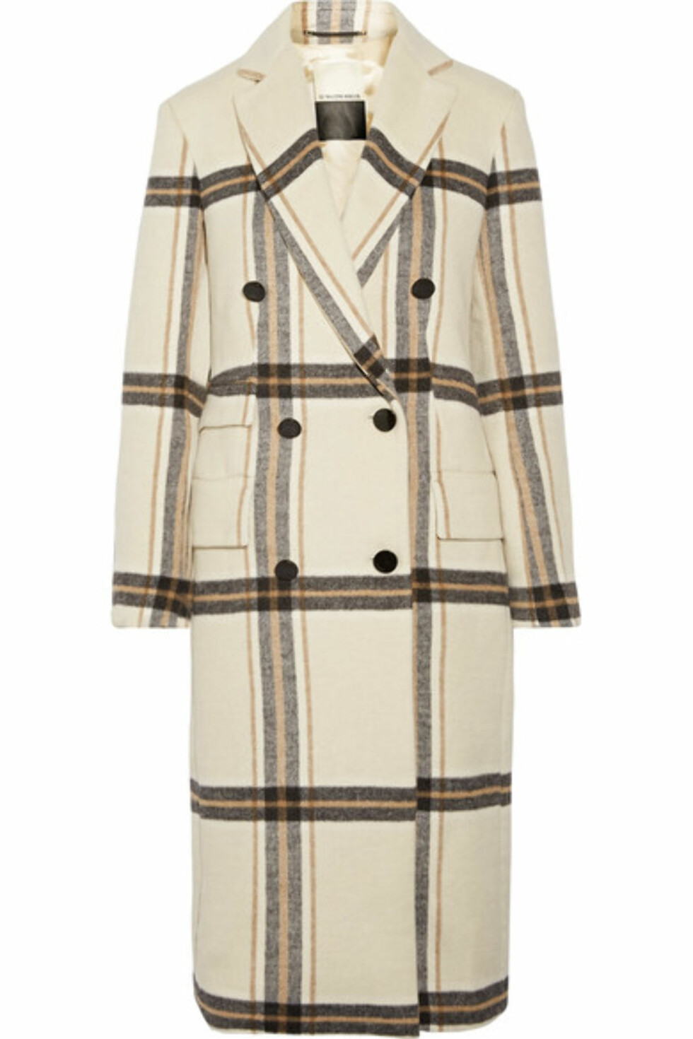 Kåpe fra By Malene Birger via Net-a-porter.com  6000,-  https://www.net-a-porter.com/no/en/product/988734/by_malene_birger/gritt-double-breasted-plaid-brushed-felt-coat