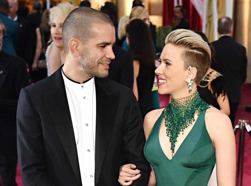 Romain Dauriac og Scarlett Johansson hadde vært gift i tre år, men i januar ble det slutt mellom turtelduene. Foto: NTB Scanpix
