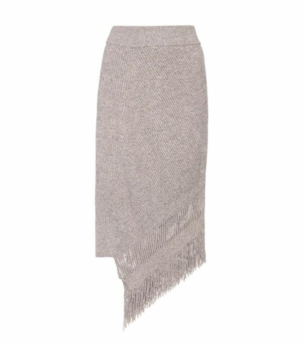 Skjørt fra Stella McCartney via Mytheresa.com  5520,-  https://www.mytheresa.com/en-de/000359-asymmetrical-cashmere-and-wool-skirt-825364.html?catref=category