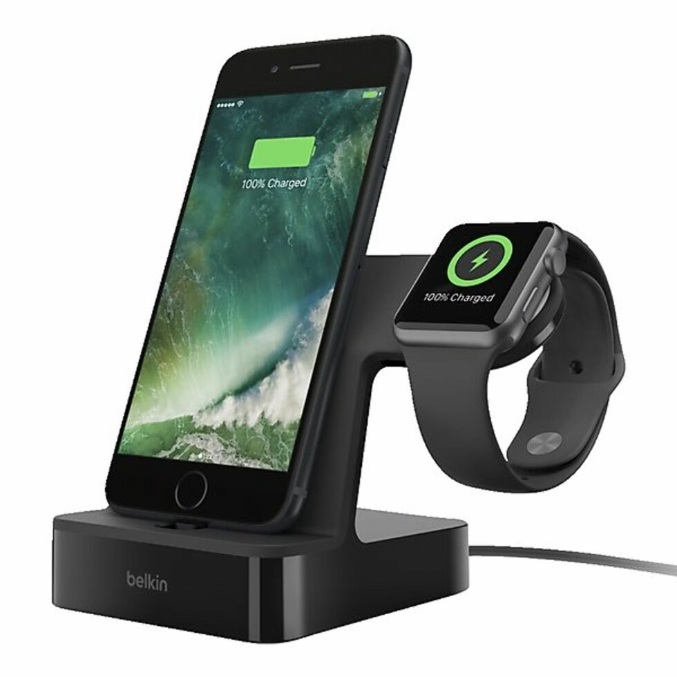 Belkin PowerHouse |899,-| https://www.clasohlson.com/no/Belkin-PowerHouse-ladestasjon-for-iPhone-og-Apple-Watch-/38-8321