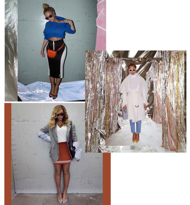 FRA INSTAGRAM: Beyonce deler ofte slike antrekksbilder på kontoen sin. Alle disse er fra høstmånedene i 2017. Foto: Skjermdump fra Instagram @beyonce
