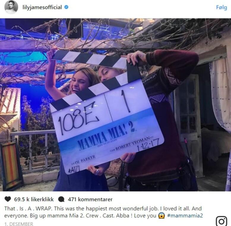 FERDIG: Lily James delte dette bildet på sin Instagram-konto. Foto: Instagram @Lilyjamesofficial