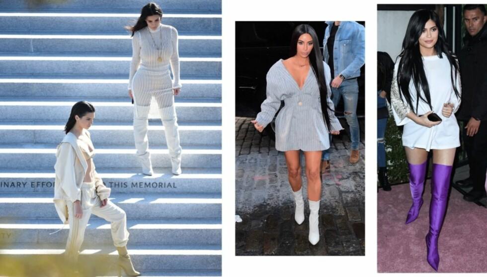 KARDASHIAN-KLANENS FAVORITT: Du har nok sett både Kendall, Kylie og Kim i sokkeskoene. Her er bare noen av antrekkene de har brukt trendskoene til. Foto: Scanpix