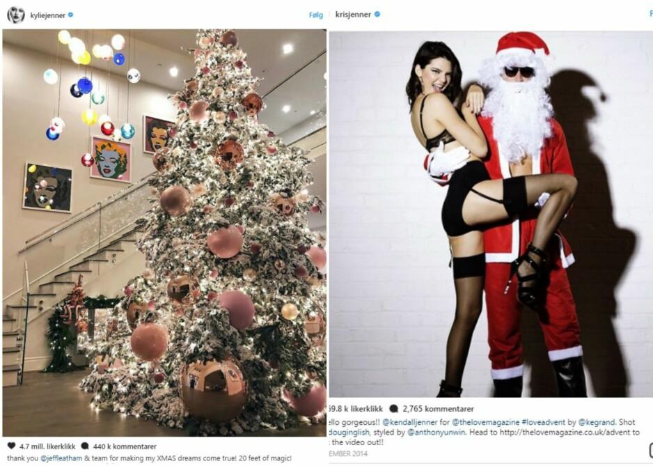 JUL KARDASHIANS: Vi feirer alle jul, men noen har uten tvil mer ressurser enn andre. Vi måper av Kylie Jenner sitt juletre. FOTO: Instagram @kyliejenner / @krisjenner