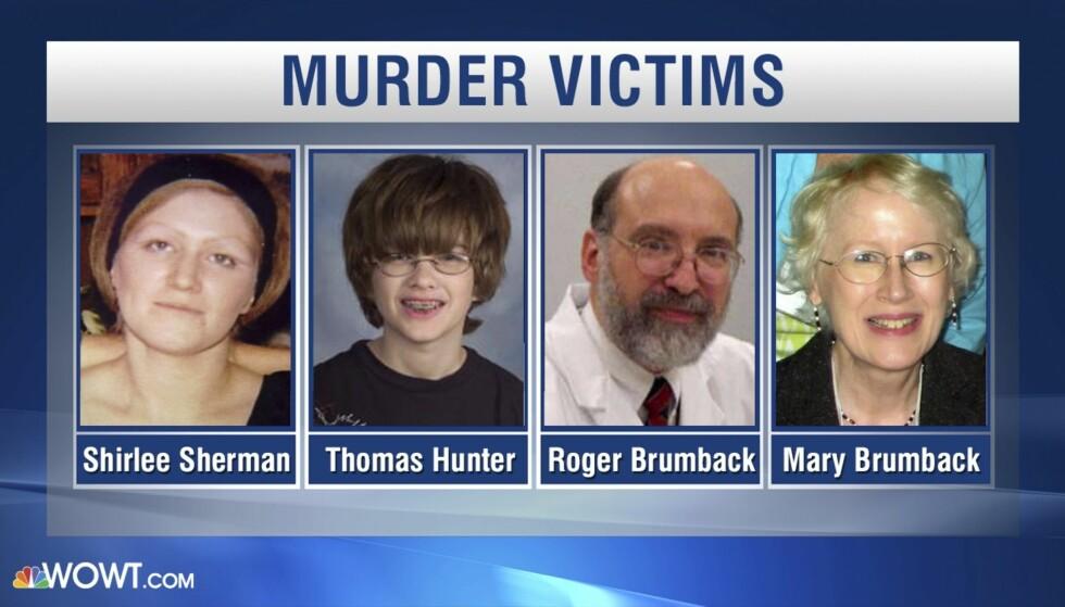 OFRE: Shirlee Sherman, Thomas Hunter, Roger Brumback og Mary Brumback ble alle ofre for den brutale drapsmannen. FOTO: NTB scanpix